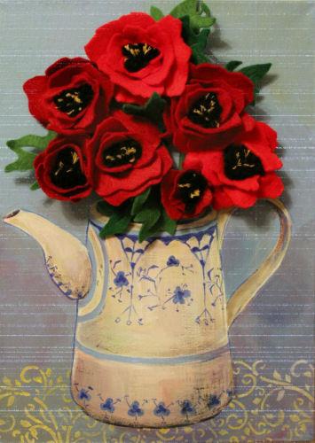 картина, картина в подарок, картина для интерьера, фетр, цветы, цветы ручной работы, живопись, декорирование, декор интерьера, декоративные элементы, декор, панно, голубой, красный, маки, мак