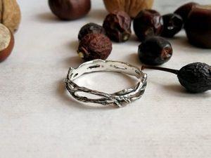 Аукцион с 1 руб. 24 мая в 10.00 серебряное кольцо Ветка. Ярмарка Мастеров - ручная работа, handmade.