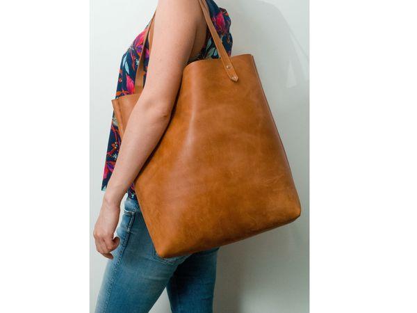 9764494277cc Шьем сумку-шоппер из натуральной толстой кожи без машинки и навыков шитья |  Ярмарка Мастеров