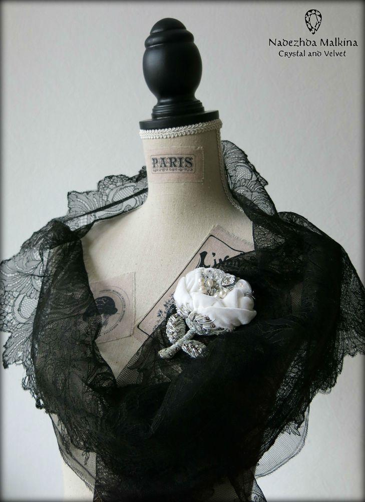 роза, белая роза, вышивка пайетками
