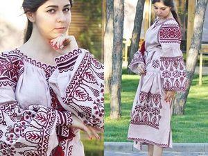 Розовое  Вышитое льняное платье в этно стиле Платье вышиванка Большой размер. Ярмарка Мастеров - ручная работа, handmade.