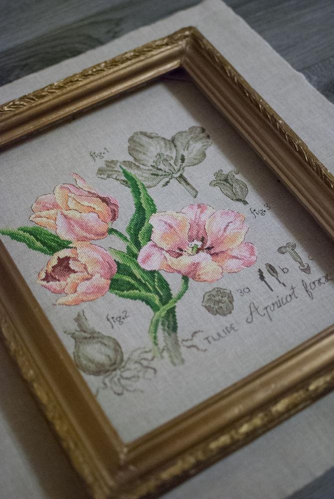 тюльпаны, вышивка крестом