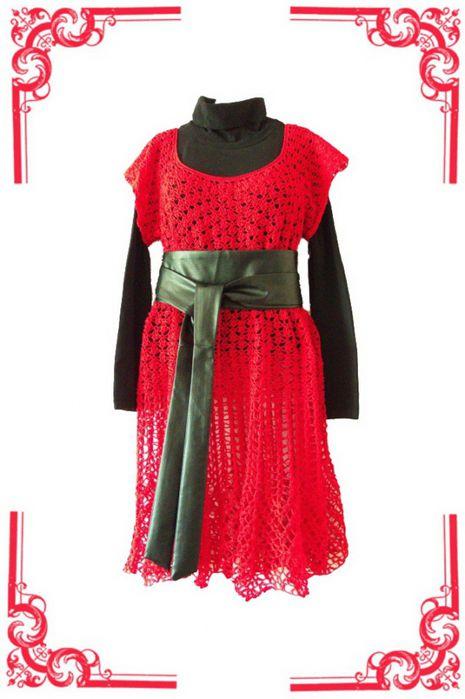 фриволите, вязаное платье