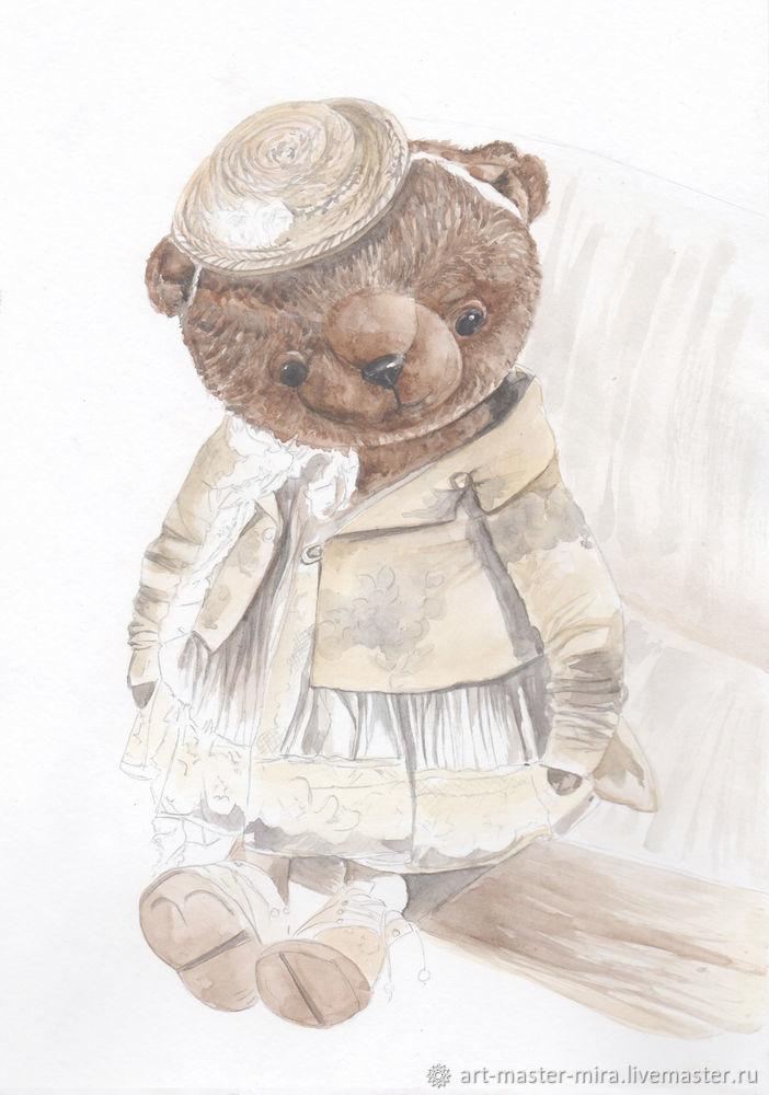 Как нарисовать мишку Тедди акварелью, фото № 7