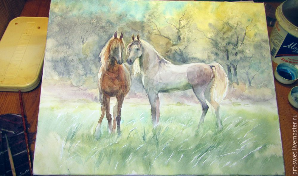 Как рисовать лошадок акварелью, фото № 11