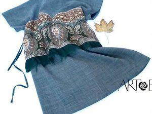 Шьем осеннюю обновку — платье-тунику с отделкой из павловопосадского платка. Ярмарка Мастеров - ручная работа, handmade.
