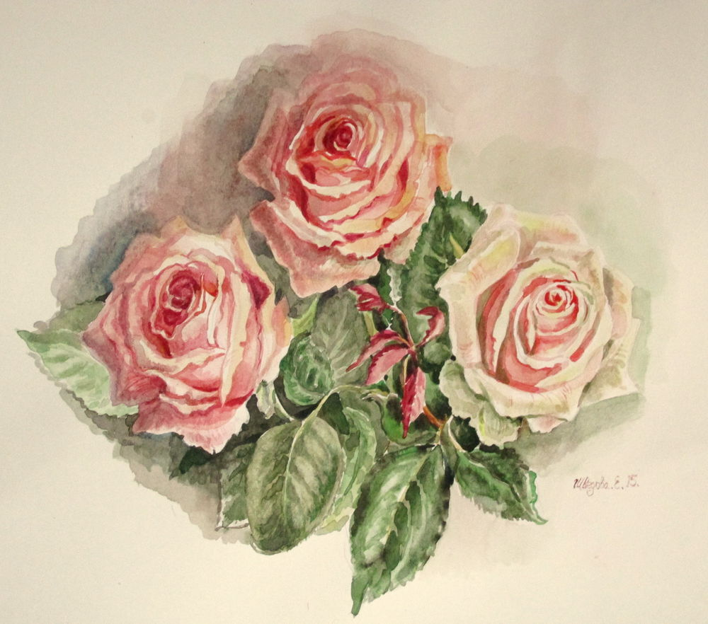 скидки, акварель, розы, акварельная картина, ярмарка мастеров