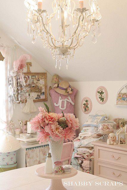 pastel craft studio in laundry/ craft room