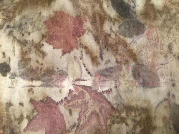 Новый шелковый купон ткани в технике экопринт   Ярмарка Мастеров - ручная работа, handmade