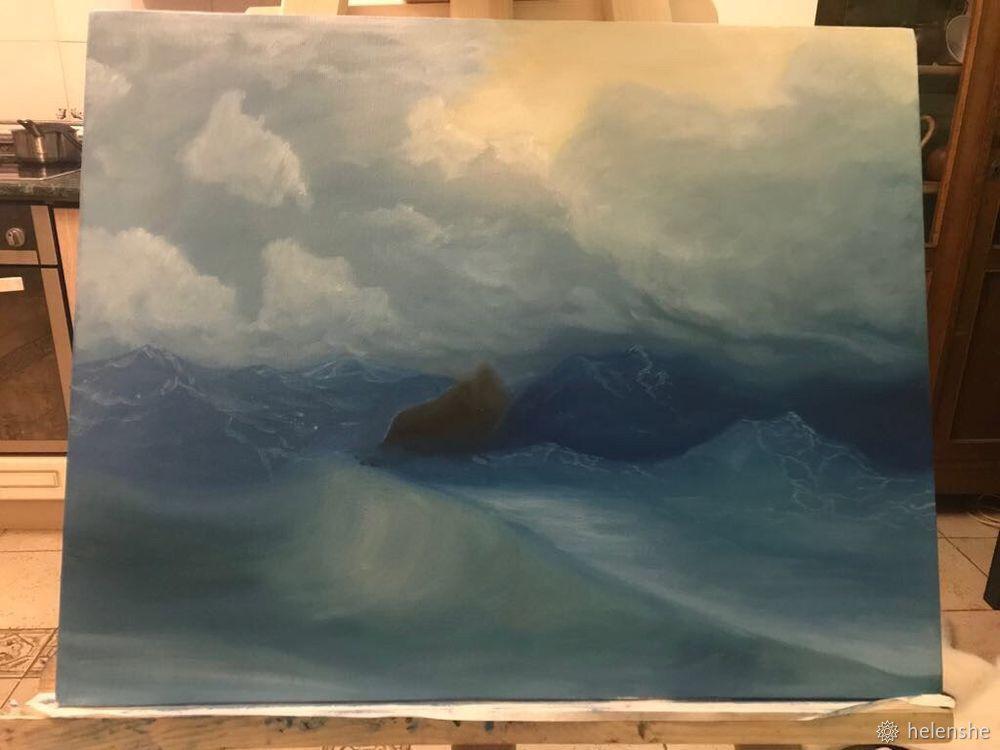 морской пейзаж, рисуем маслом