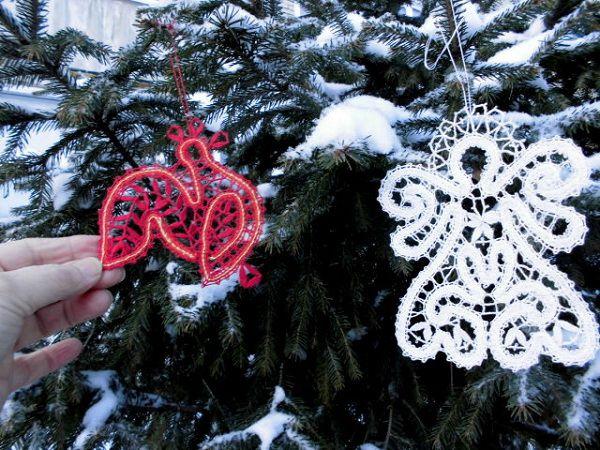 новогодние сувениры, петушок, русское кружево