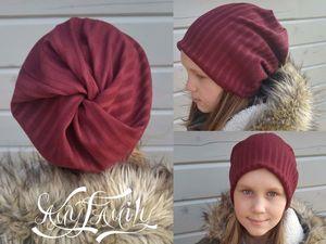 Шьем шапку бини с необычной макушкой из прямоугольника ткани: очень быстро и просто!. Ярмарка Мастеров - ручная работа, handmade.