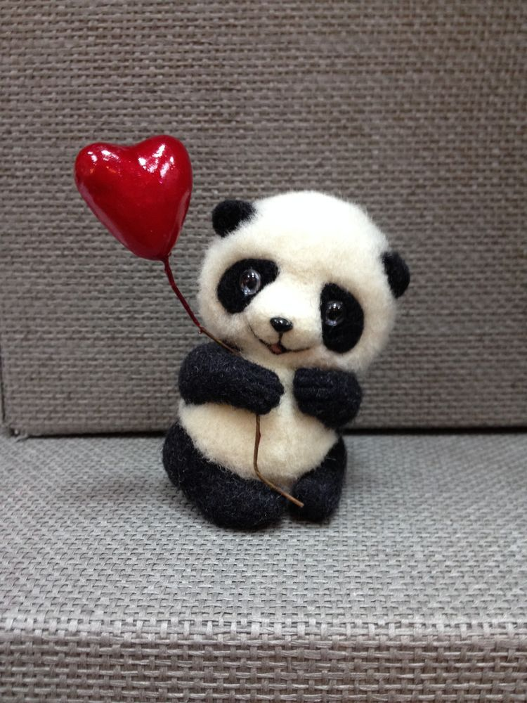 сухое валяние игрушки, мастер-класс по валянию, бугрова жанна, панда, пандочка, панда из шерсти, панда валяние