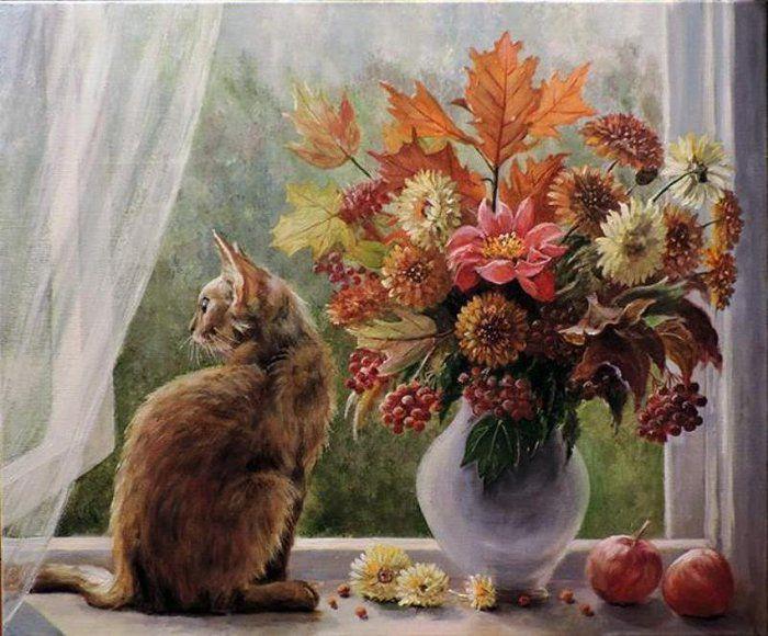 кошки, вышивка на заказ, рыжая кошка, картина осень