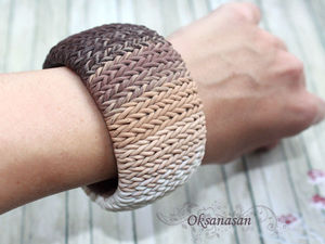 Мастерим браслет из полимерной глины с имитацией вязания. Ярмарка Мастеров - ручная работа, handmade.