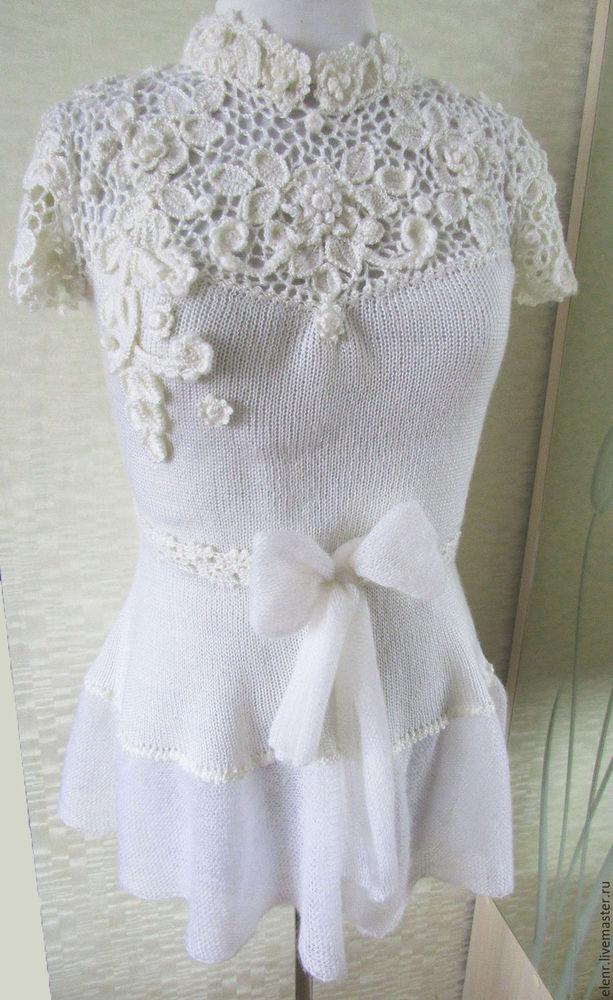 блуза, вязание на заказ, кружевные вставки