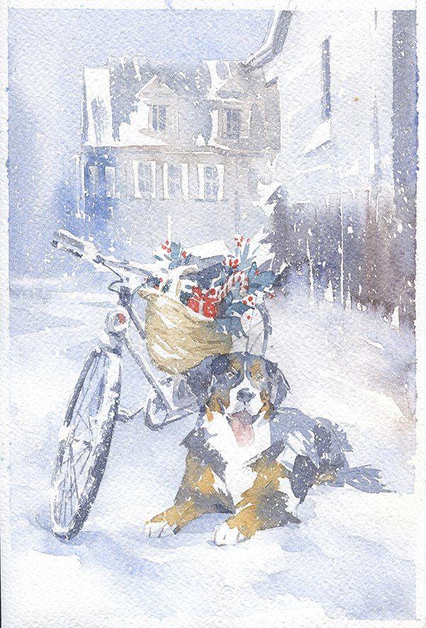 авторская открытка, необычная открытка, рождественская открытка