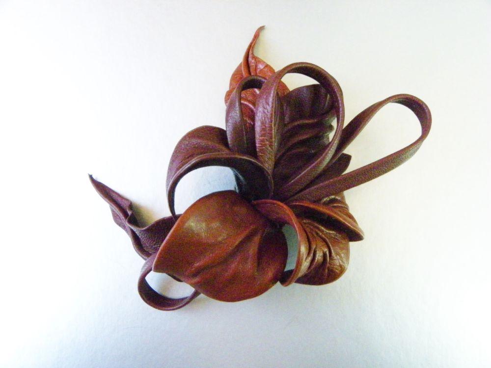 брошь цветок, брошь коричневая, терракотовый цвет, объёмный цветок, desire