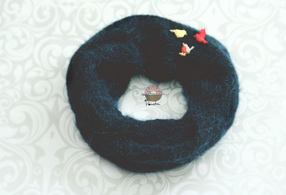 шарф, митенки вязаные