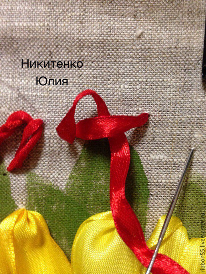 satin ribbon, master class, fabric flowers