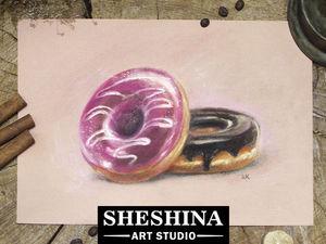 Видеоурок: как нарисовать пончики с глазурью сухой пастелью. Ярмарка Мастеров - ручная работа, handmade.