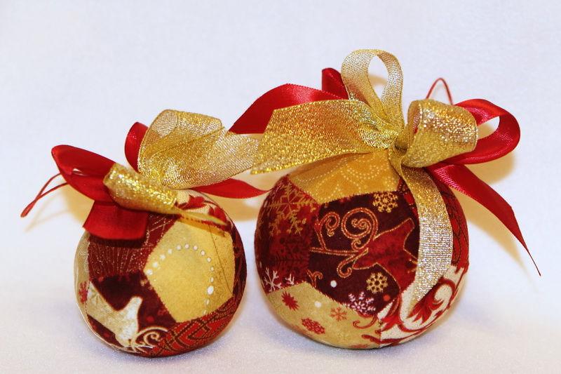 новый год, текстильный шарик, пэчворк на шаблонах
