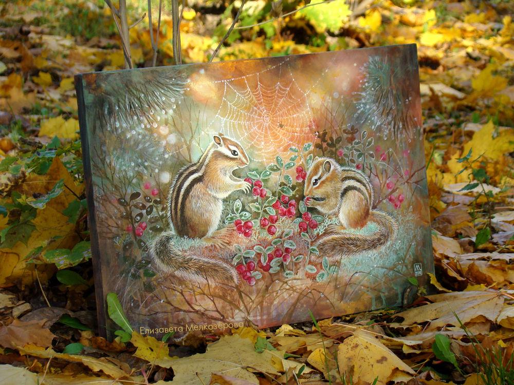 черный белый рыжий, ягоды брусника листья, картина в детскую