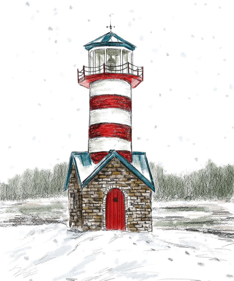 маяк, снег, посылки