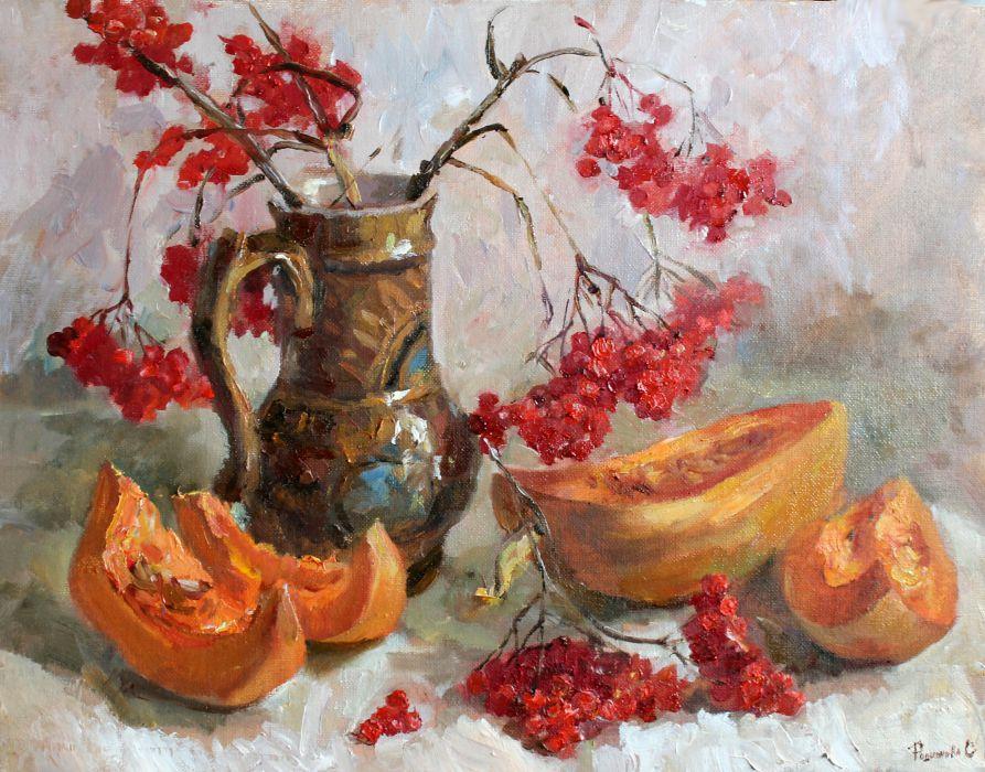натюрморт, натюрморт маслом, живопись, мастер-класс, мастер-класс по живописи, тыква, рисование маслом