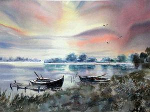 Лодки на закате на Главной! | Ярмарка Мастеров - ручная работа, handmade