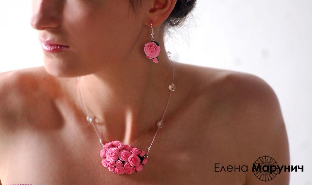 украшения с розами, розы из пластики, авторские украшения, цветы из полимерной глины, украшения из полимерной глины, розы из полимерной глины