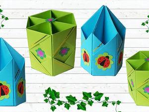 Как сделать подставку оригами для карандашей из бумаги. Ярмарка Мастеров - ручная работа, handmade.