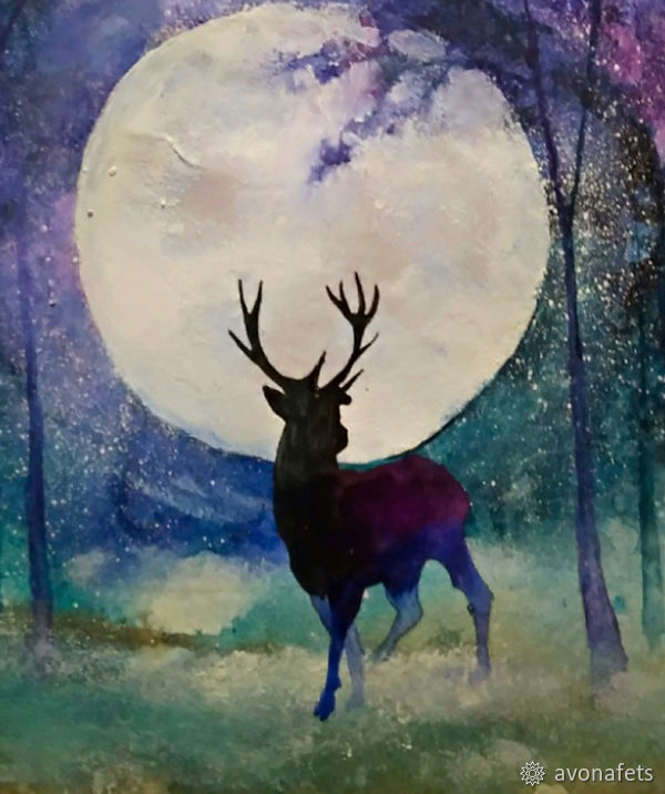 Рисуем акварелью волшебный лес с оленем, фото № 18
