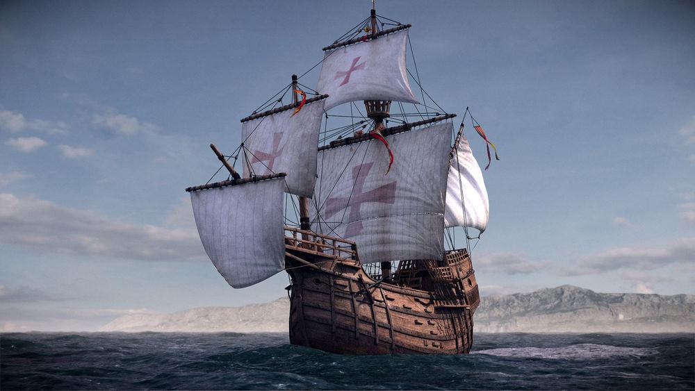 корабль, винтажная брошь