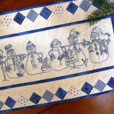 5 Machine Embroidered BlueWork Snowmen March Down your Tabletop, Birdbrain Designs