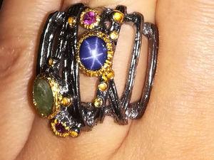 Видео кольца со звездчатым сапфиром. Серебро 925 пробы. Ярмарка Мастеров - ручная работа, handmade.