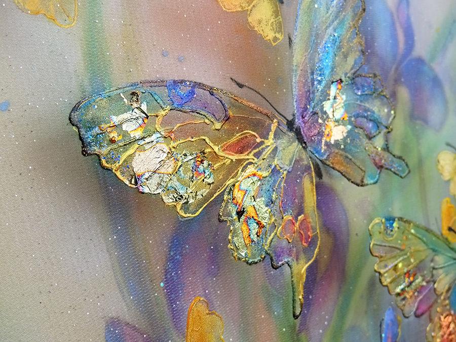 картина на шелке, трехслойная картина, картина бабочки, голубой, светлана логинова