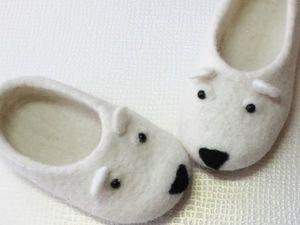 Валяные детские тапочки Мишки. Ярмарка Мастеров - ручная работа, handmade.