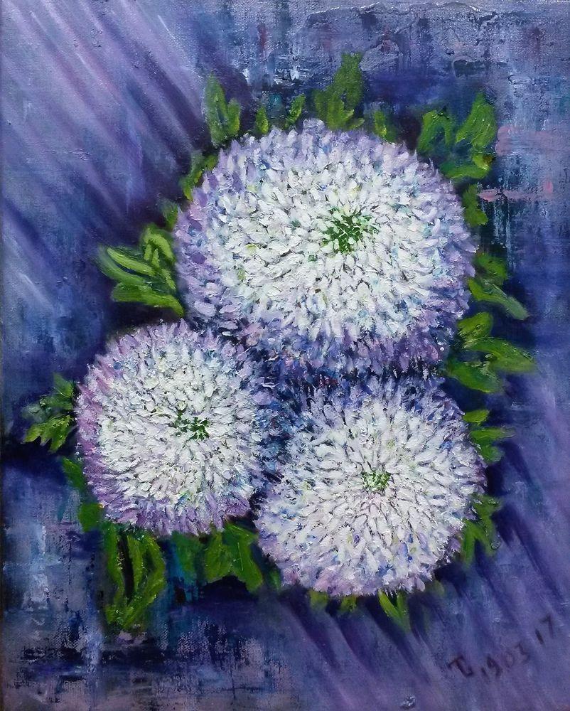 картина, картина маслом хризантемы, картина в интерьере