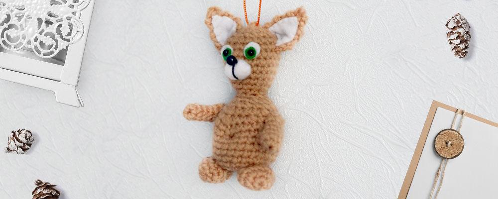 Вязаная подвеска «Кот» — отличный подарок к любому празднику, фото № 1