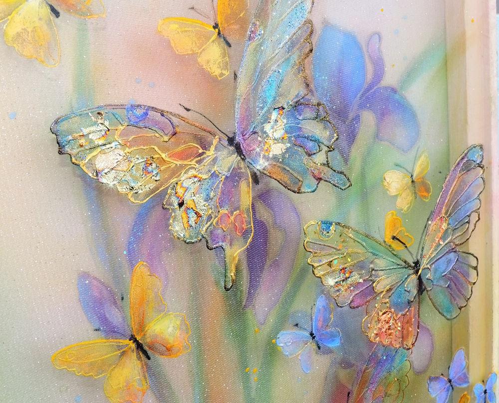 объемная картина, картина ирисы, сиреневый, весна цветы