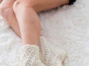 Вязаные пуховые (козий пух) носки белые ажурные. Ярмарка Мастеров - ручная работа, handmade.