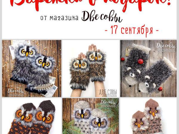 Две совы дарят Варежки в подарок | Ярмарка Мастеров - ручная работа, handmade