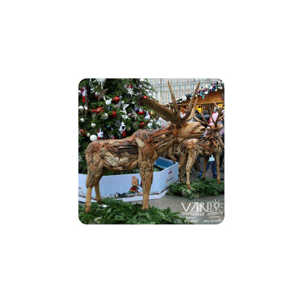 vzbrelo, взбрело, рутарий, олень, новый год, рождество, декор, новогодний декор, дерево, из дерева, век живи - век учись, словарь, декорирование, уличное искусство, скульптура, город