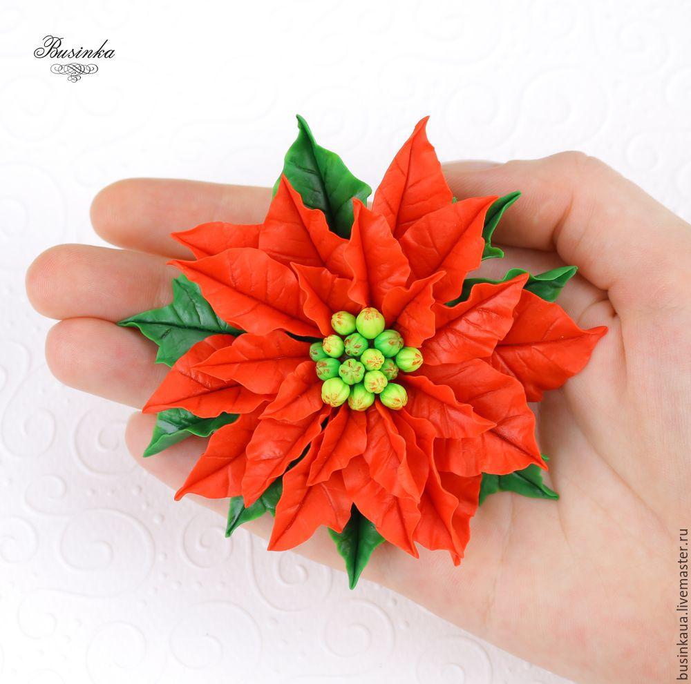 пуансетий лепка урок, как слепить пуансеттию, сборка пуансеттии, как собрать брошь, подарок на новый год урок, праздничные цветы лепка, цветы холодного фарфора