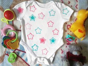 Украшаем яркими звездочками боди для малыша. Ярмарка Мастеров - ручная работа, handmade.