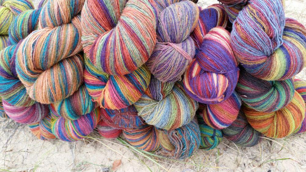 пряжа, овечья шерсть, шаль ажурная, разноцветный