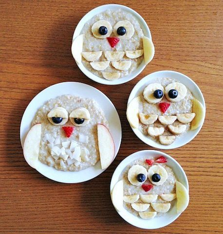 It's a hoot: Make an owl with oatmeal and fruit.