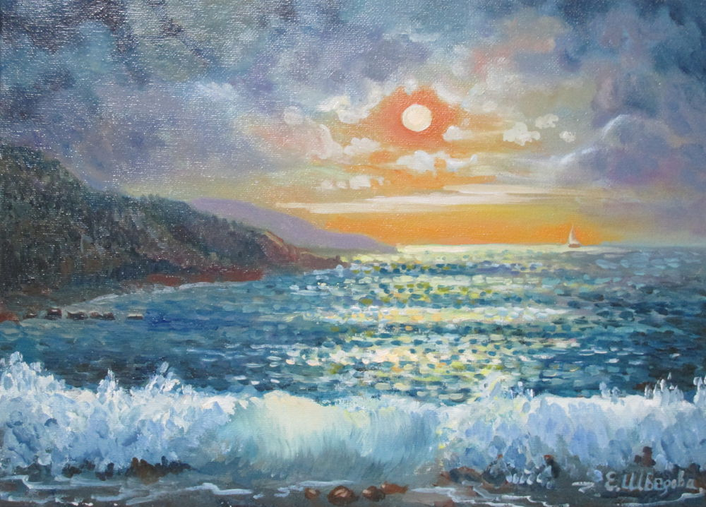 картина, картина маслом, морской пейзаж, живопись маслом, море, крым, ночь, луна, горы, купить в москве, ярмарка мастеров, авторская работа, картина для интерьера