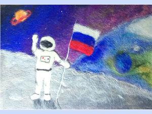 """Создание космической картины из шерсти """"Покорители галактики"""". Ярмарка Мастеров - ручная работа, handmade."""